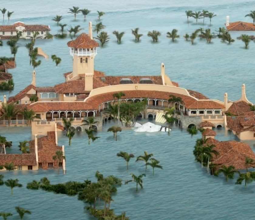 Mar-a-Lago with simulated sea level projected at end of century