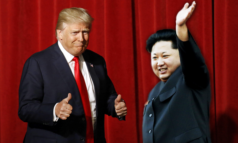Republican presidential candidate Donald Trump with Kim Jong Un in a composite photoshop image
