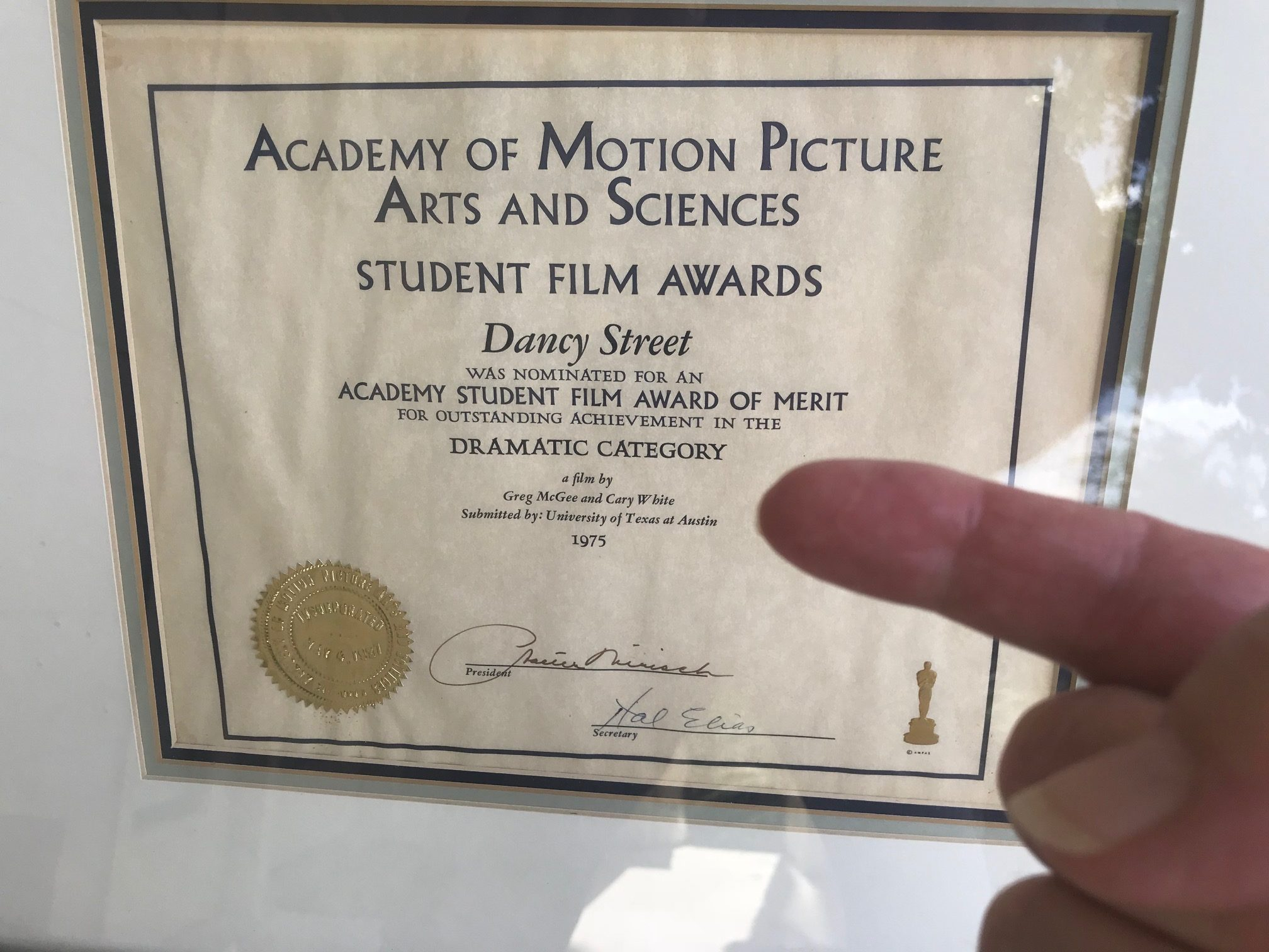 Academy Award Nomination Certificate