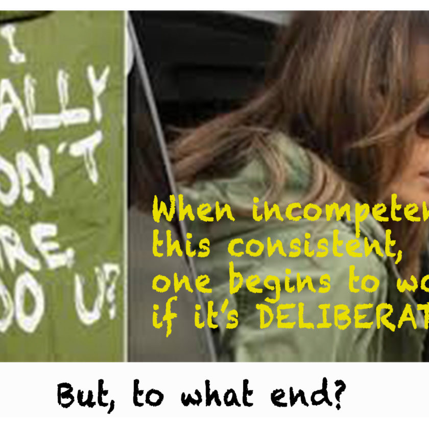 Melania wearing I really don't care parka. Caption asks When incompetence is this consistent, one begins to wonder if it's deliberate