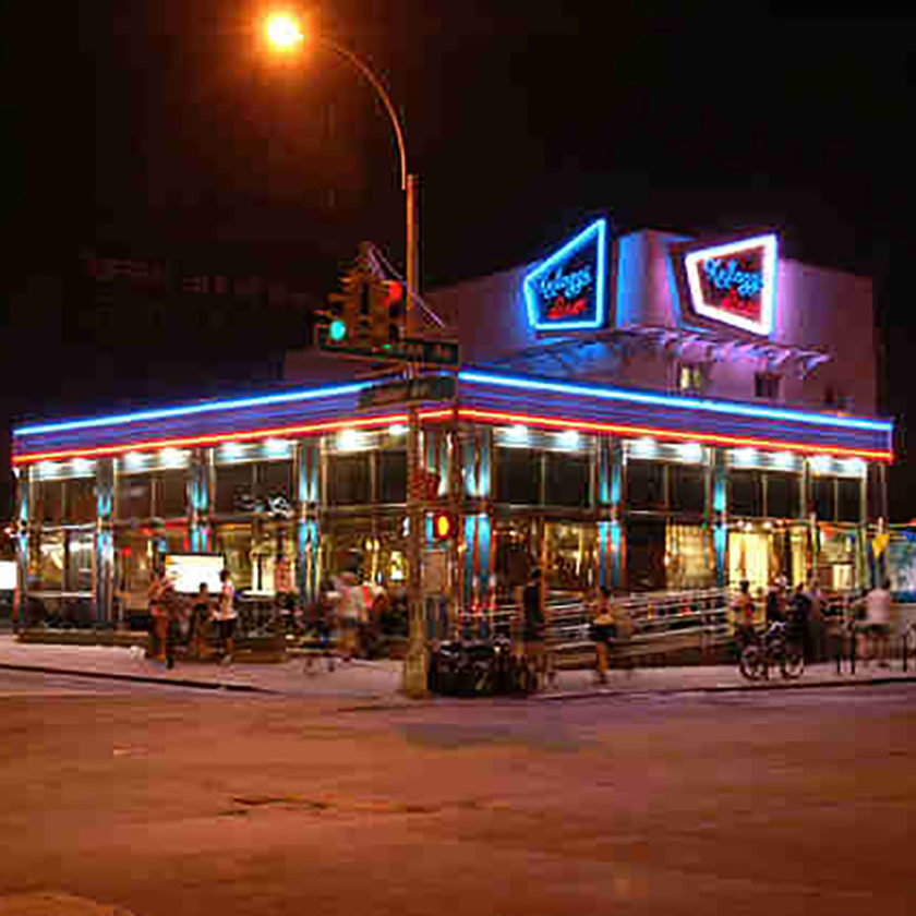 Waggs Diner At Night, with NEON