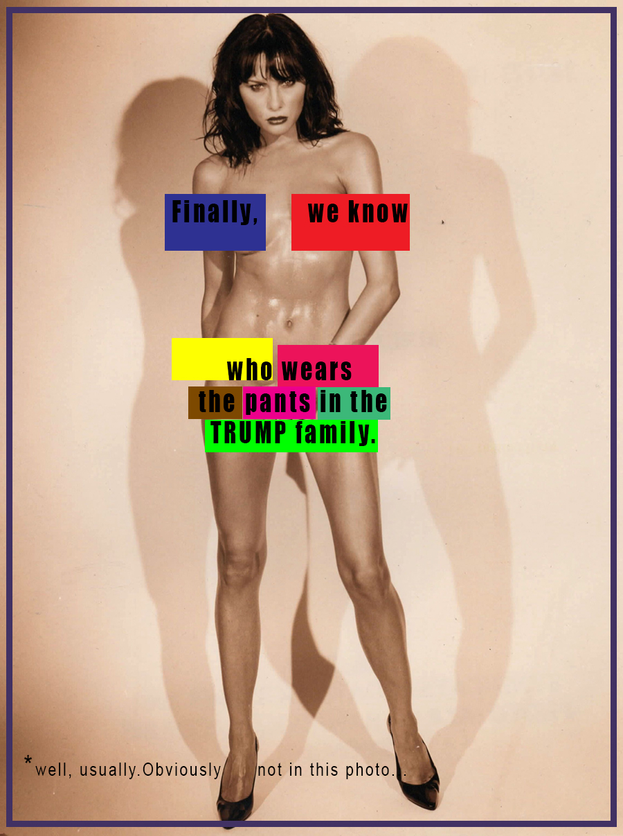 Melania Trump with no clothes on, with the words Finally We know who wears the pants in the Trump family, asterisk, well, usually. Obviously not in this photo.