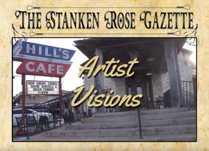 Opening frame for Artists' Visions Program, with the title overlaying an image of the front of Hill's Cafe