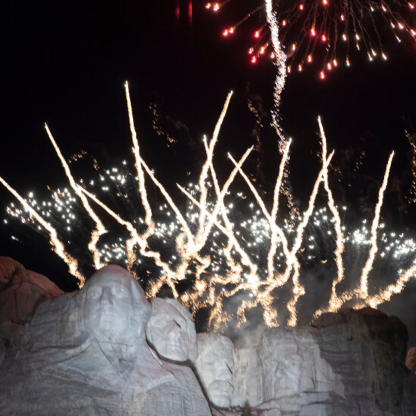 Fireworks display over Mt Rushmore on July 3, 2020